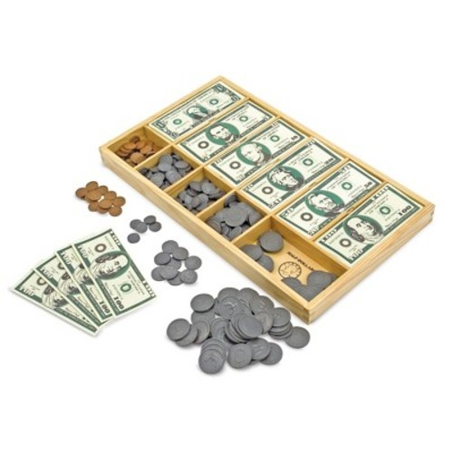 Melissa & Doug Play Money Set - Educational Toy With Paper Bills and Plastic Coins (50 of each denomination) and Wooden Cash Drawer for Storage