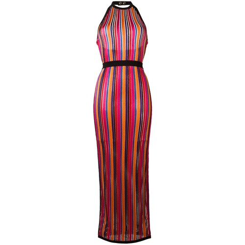 BALMAIN Striped Contrast Trim Dress