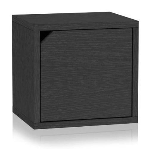 Way Basics Eco Stackable Connect Storage Cube with Door Black (C-DCUBE-BK)