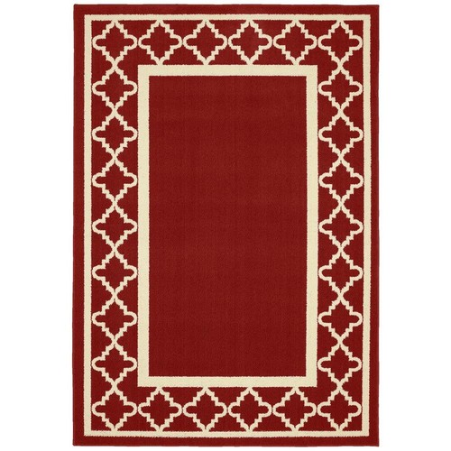 Garland Rug Moroccan Frame Crimson Red/Ivory 5 ft. x 7 ft. Area Rug