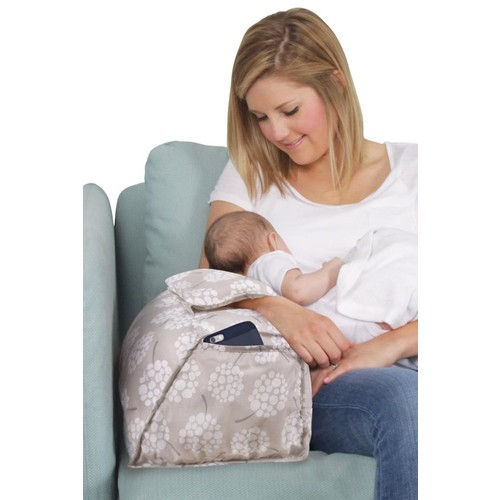 Leachco Puff Cuff Nursing Pillow with Cushioned Armband - Dandelion Taupe