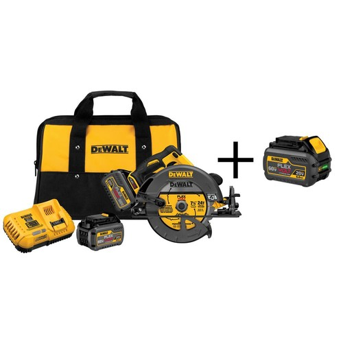 DEWALT FLEXVOLT 60-Volt MAX Lithium-Ion Cordless Brushless 7-1/4 in. Circular Saw with (2) Batteries 6Ah and Bonus Battery 6Ah