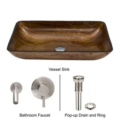 VIGO Rectangular Glass Vessel Sink in Amber Sunset with Wall-Mount Faucet Set in Brushed Nickel
