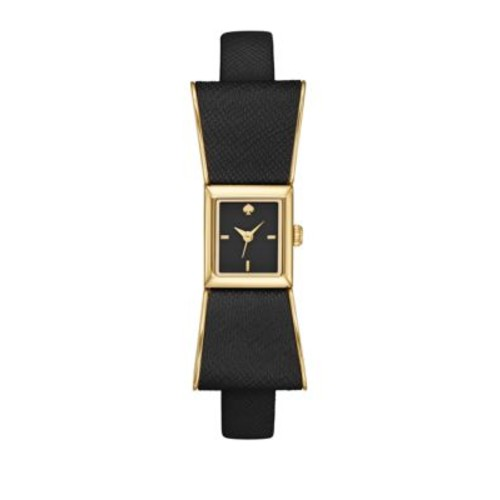 Kate Spade New York - Kenmare Goldtone Stainless Steel & Saffiano Leather Bow Strap Watch/Black