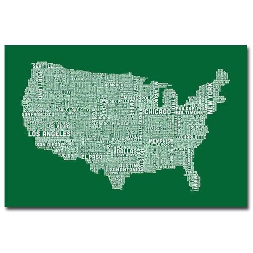 Trademark Global Michael Tompsett 'US City Map III' Canvas Art