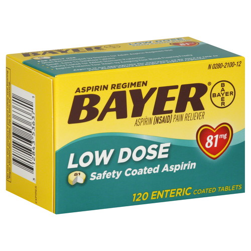 Bayer Aspirin, Low Dose, 81 mg, Enteric Coated Tablets, 120 tablets