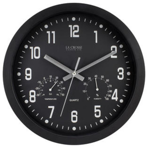 LA CROSSE TECHNOLOGY LTD 404-2631 12 in. Black Plastic Wall Clock