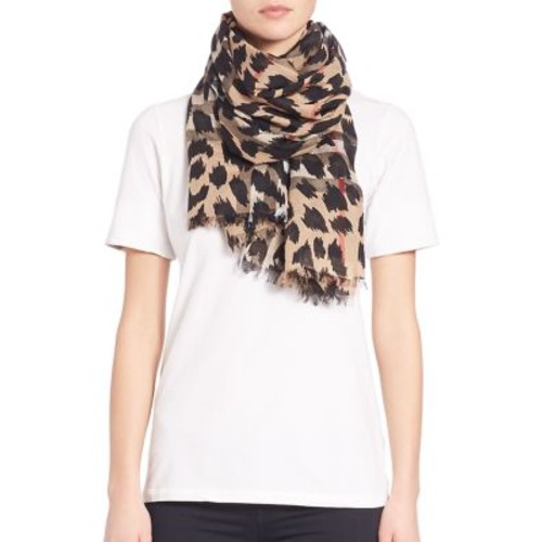 BURBERRY Animal Check Wool & Silk Gauze Scarf