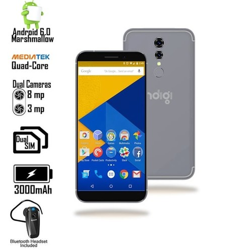 Indigi NEW 4G LTE AT&T Unlocked Android 6.0 SmartPhone +GPS + WiFi + Bluetooth included - Black