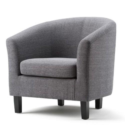 Simpli Home Austin Fawn Brown Fabric Arm Chair