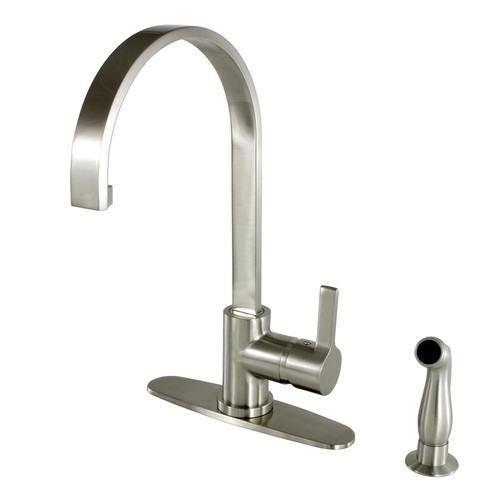 Kingston Brass Single-Handle Standard Kitchen Faucet with Side Sprayer in Satin Nickel