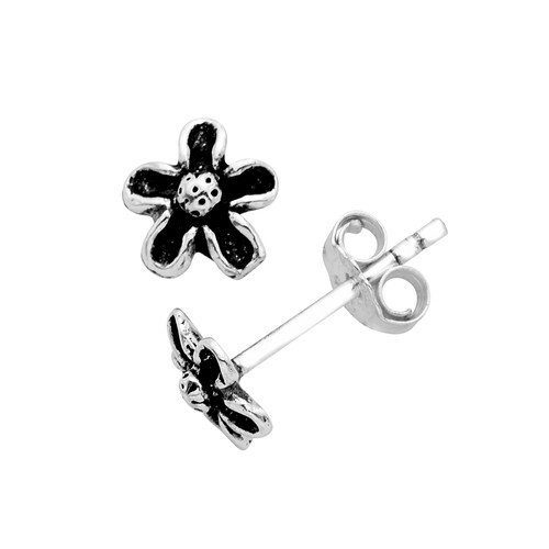 Sterling Silver Itsy Filigree Flower Post Earrings