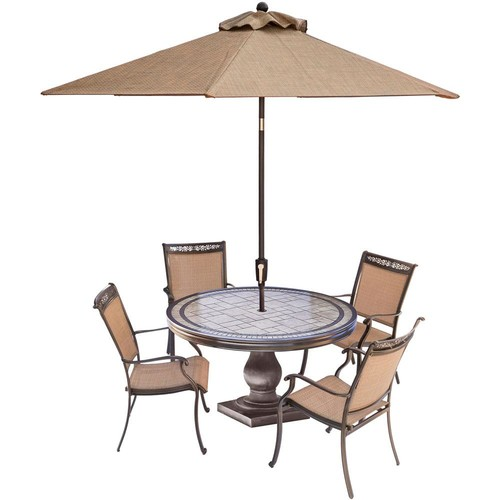 Hanover Fontana 5-Piece Aluminum Round Outdoor Dining Set with Tile-Top Table, Umbrella and Base