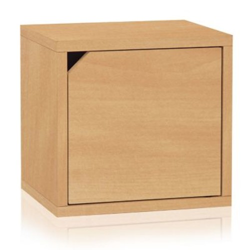 Way Basics Eco Stackable Connect Storage Cube with Door Natural (C-DCUBE-NL)