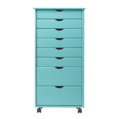 Home Decorators Collection Stanton Wide 8-Drawer Storage Cart in Blue