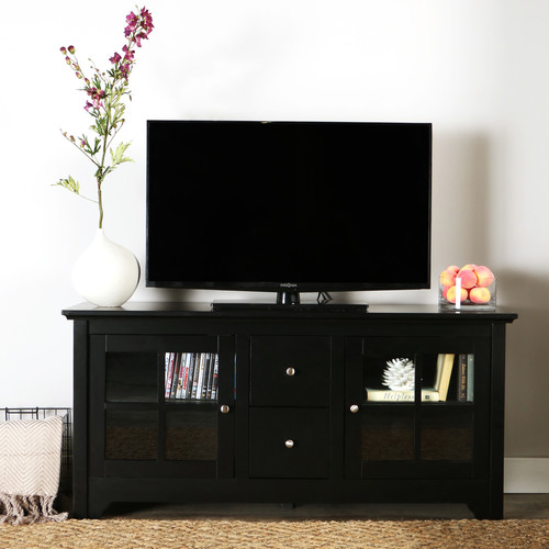 Walker Edison Wood Matte Black TV Console with 2 Drawers for TVs up to 55