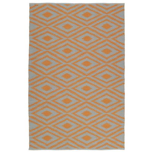 Indoor/Outdoor Laguna Grey and Orange Ikat Flat-Weave Rug (3' x 5')