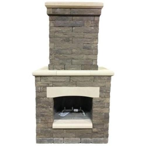 castle Avondale 53 in. x 33.5 in. x 99.5 in. Sienna Outdoor Fireplace