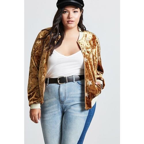 Plus Size Velvet Bomber Jacket