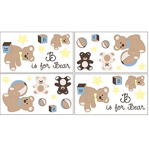 Sweet Jojo Designs Teddy Bear Wall Decals in Chocolate (Set of 4)