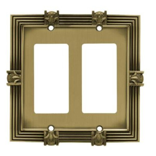 Liberty Pineapple Decorative Double Rocker Switch Plate, Tumbled Antique Brass