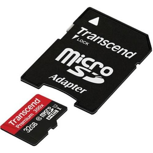 Transcend 32GB Premium Class 10 microSDHC Memory Card + SD Adapter TS32GUSDU1