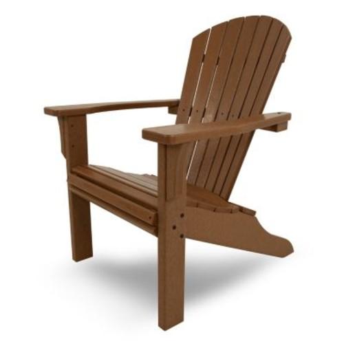 POLYWOOD Seashell Teak Plastic Patio Adirondack Chair