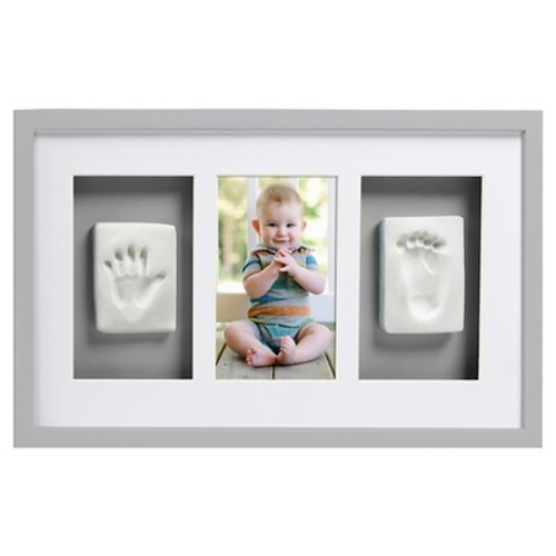 Pearhead Babyprints Newborn Baby Handprint and Footprint Deluxe Wall Photo Frame & Impression Kit - Makes A Perfect Baby Shower Gift, Gray [Grey, Deluxe Wall Frame]