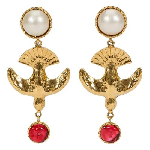 1970s Chanel Rare Gripoix Bird Earrings