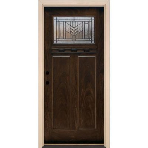 Feather River Doors 37.5 in. x 81.625 in. Phoenix Patina Craftsman Stained Chestnut Mahogany Right-Hand Fiberglass Prehung Front Door