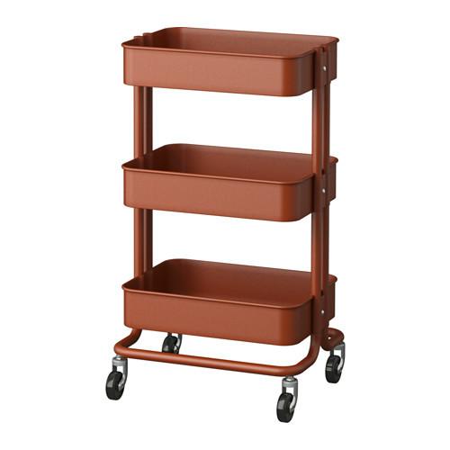 RSKOG Utility cart, red/brown