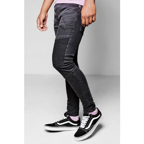 Black Denim Biker Jeans In Skinny Fit