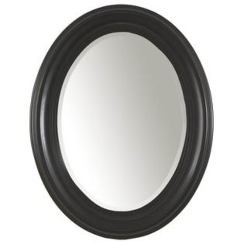 Carolina Cottage Oval Mirror w Beveled Glass in Antique Black