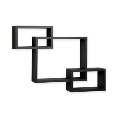 Danya B Intersecting Cubbies Wall Shelf in Black