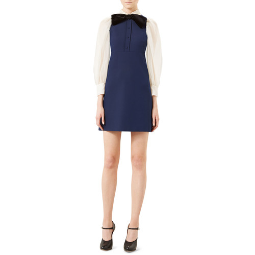 GUCCI Cady Crepe Long-Sleeve Dress, Navy/White