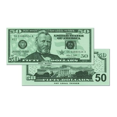 LEARNING ADVANTAGE Play Sets $50 Bills Set Of 50