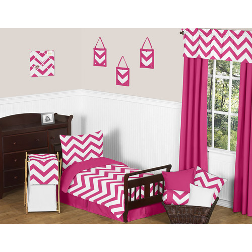 Sweet Jojo Designs Pink and White Chevron Collection 5pc Toddler Bedding Set