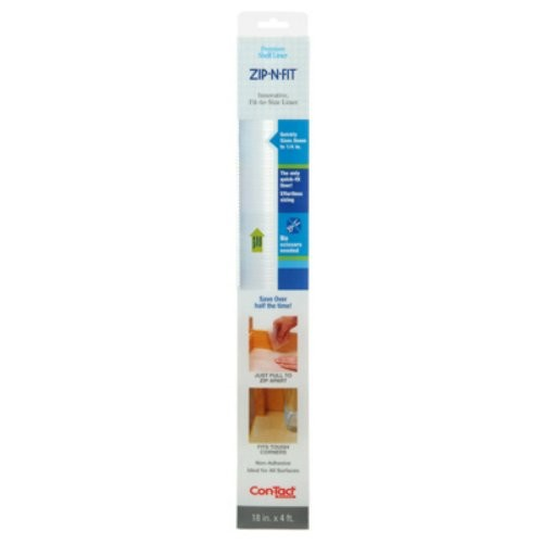 Con-Tact Brand Zip-N-Fit Premium Non-Adhesive Perforated Shelf and Drawer Liner, No Scissors Needed, 18-Inches by 4-Feet, Ribbed Clear [Ribbed Clear, 1 Roll]
