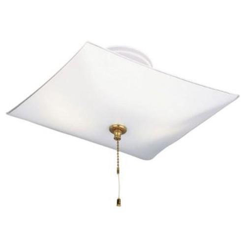 Westinghouse 2-Light White Interior Ceiling Semi-Flush Mount Light with Pull Chain and White Glass