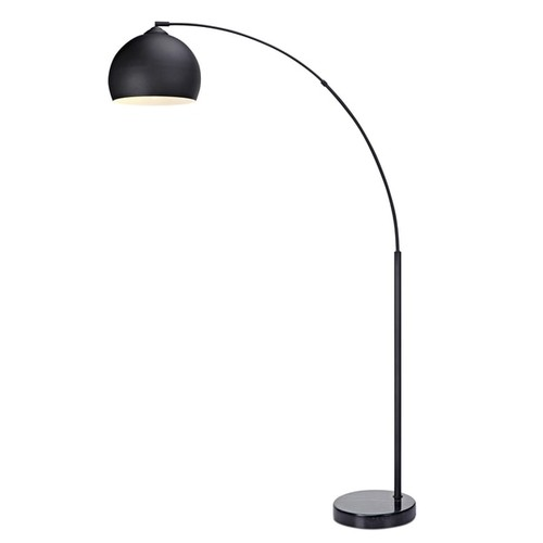 Versanora Arquer Black Marble Arc Floor Lamp