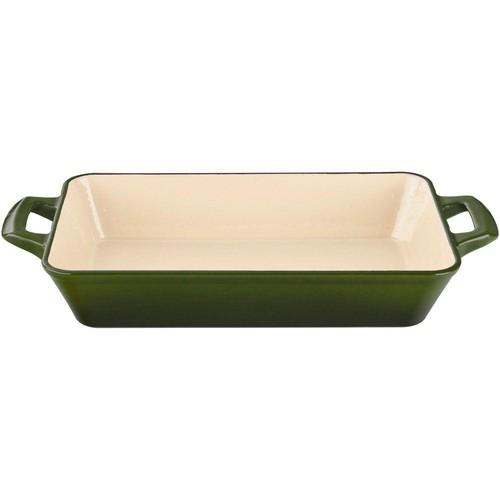 La Cuisine Medium Deep Cast Iron Roasting Pan with Enamel Finish in Green