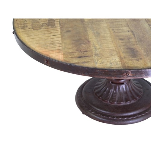 HomemadeRed Iron and Reclaimed Wood Round Coffee Table (India)