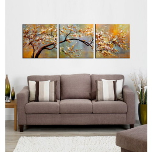 The Stupell Home Decor Collection Pink Blossoms and Butterflies 3-piece Triptych Canvas Art Set
