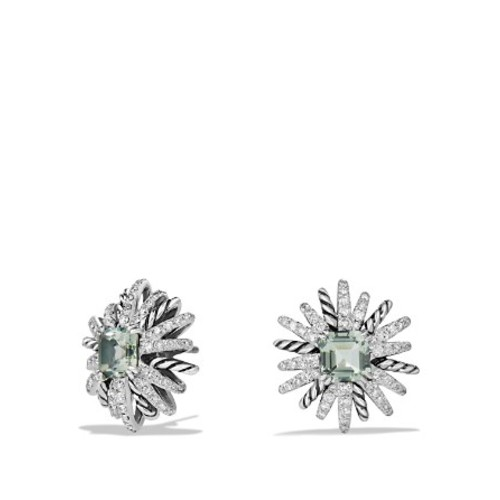 Starburst Earrings with Diamonds and Prasiolite in Silver