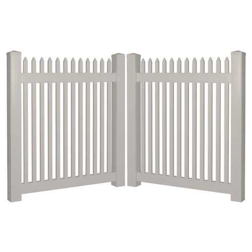 Weatherables Hartford 8 ft. W x 4 ft. H Tan Vinyl Picket Fence Double Gate