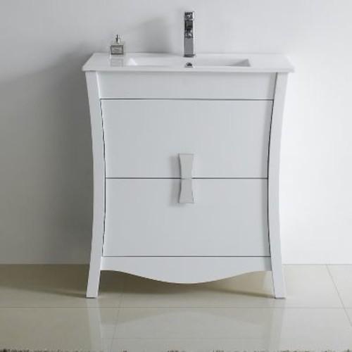American Imaginations Bow 29'' Modern Vanity Base; White