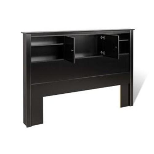 Prepac Black Full/Queen Kallisto Bookcase Headboard with Doors