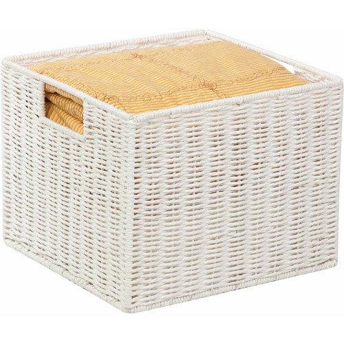 Honey Can Do Parchment Cord Basket with Wire Frame and Handles, White