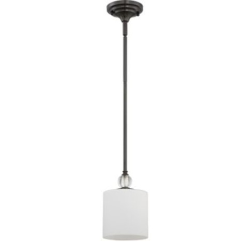 Quoizel Downtown 1-Light Mini Pendant in Dusk Bronze with Linen Shade
