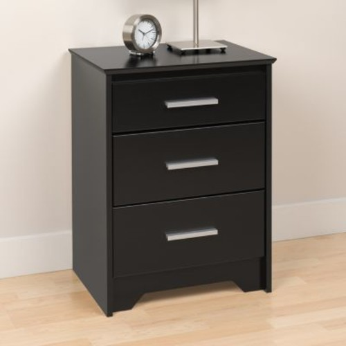 Prepac Coal Harbor 3-Drawer Black Nightstand